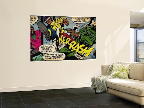 Marvel Comics Retro: Luke Cage, Hero for Hire Comic Panel, Kicking and Fighting (aged) Wall Mural