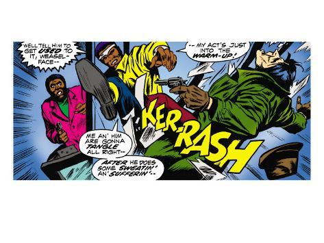 Marvel Comics Retro: Luke Cage, Hero for Hire Comic Panel, Kicking and Fighting Premium Giclee Print