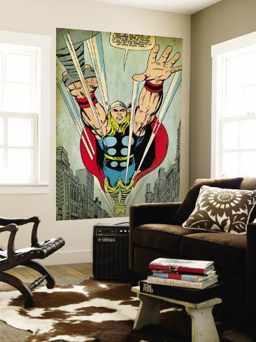 Marvel Comics Retro: Mighty Thor Comic Panel, Flying (aged) Bildtapet