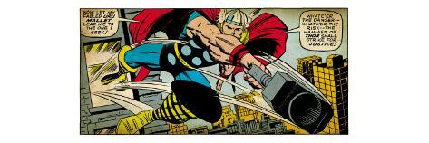 Marvel Comics Retro: Mighty Thor Comic Panel, Flying and Jumping (aged) Stretched Canvas Print