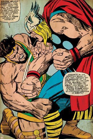 Marvel Comics Retro: Mighty Thor Comic Panel, Hercules (aged) Poster