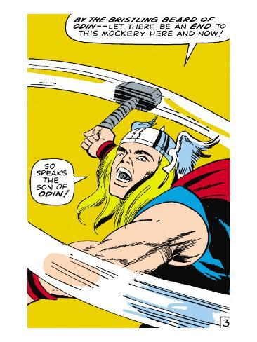 Marvel Comics Retro: Mighty Thor Comic Panel, Swinging Hammer Premium Giclee Print