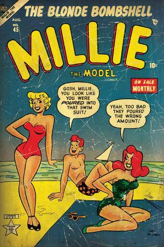 Marvel Comics Retro: Millie the Model Comic Book Cover No.45, in Bathing Suit, at the Beach (aged) Wall Mural