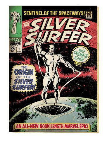Marvel Comics Retro: Silver Surfer Comic Book Cover No.1, Origin (aged) Stretched Canvas Print
