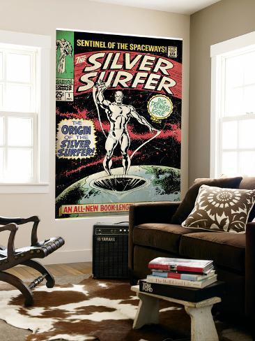 Marvel Comics Retro: Silver Surfer Comic Book Cover No.1, Origin (aged) Wall Mural