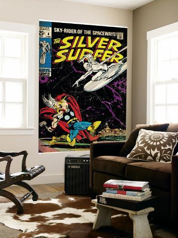 Marvel Comics Retro: Silver Surfer Comic Book Cover No.4, Thor (aged) Wall Mural
