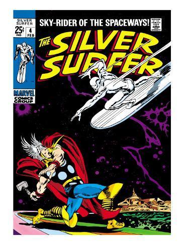Marvel Comics Retro: Silver Surfer Comic Book Cover No.4, Thor Premium Giclee Print