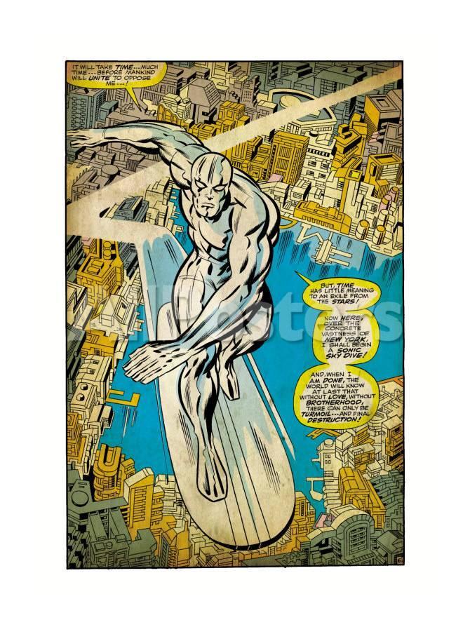 Marvel Comics Retro: Silver Surfer Comic Panel, Over the City (aged)