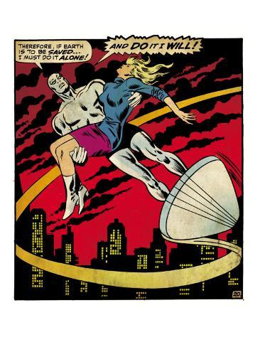 Marvel Comics Retro: Silver Surfer Comic Panel, Saving the girl (aged) Stretched Canvas Print