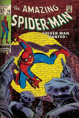 Marvel Comics Retro: The Amazing Spider-Man Comic Book Cover No.70, Wanted! (aged) Poster