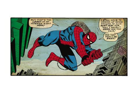Marvel Comics Retro: The Amazing Spider-Man Comic Panel (aged) Art Print