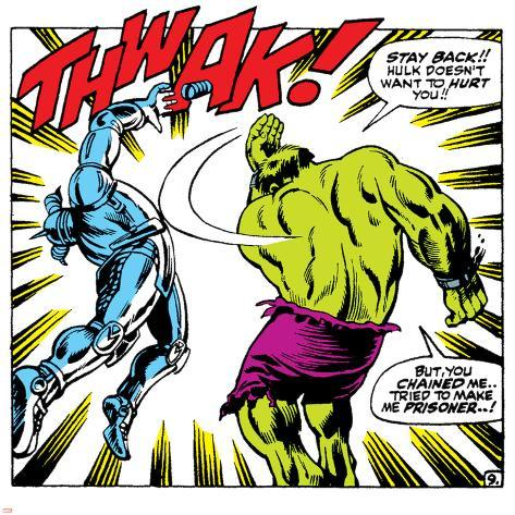 Marvel Comics Retro: The Incredible Hulk Comic Panel, Fighting, Thwak! Poster