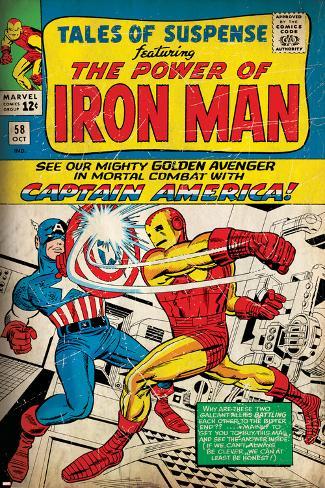 Marvel Comics Retro: The Invincible Iron Man Comic Book Cover No.58, Facing Captain America (aged) Poster