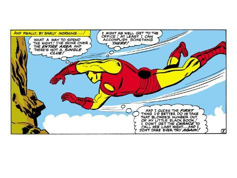 Marvel Comics Retro: The Invincible Iron Man Comic Panel, Flying Premium Giclee Print