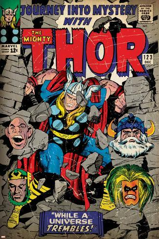 Marvel Comics Retro: The Mighty Thor Comic Book Cover No.123, Mystery with Absorbing Man, Odin Poster