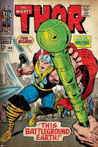 Marvel Comics Retro: The Mighty Thor Comic Book Cover No.144, Charging, Swinging Hammer (aged) Poster