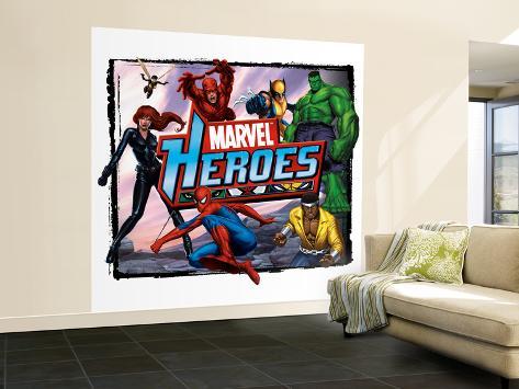 Marvel Heroes: Black Panther, Wasp, Spider-Man, Daredevil, Wolverine, Hulk, Luke Cage Wall Mural – Large