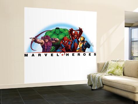 Marvel Heroes: Spider-Man, Hulk, Wolverine, Hawkeye, Daredevil Wall Mural – Large
