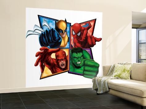 Marvel Heroes: Wolverine, Spider-Man, Daredevil, Hulk Wall Mural – Large