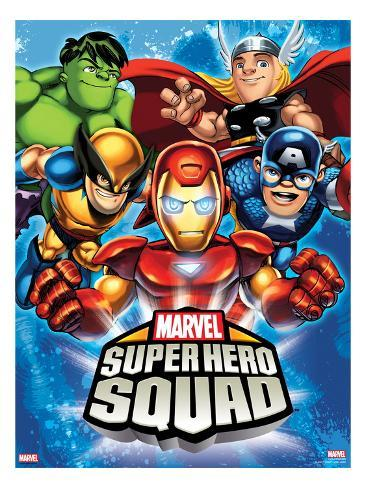 Marvel Super Hero Squad: Hulk, Thor, Wolverine, Iron Man, and Captain America Posing Stretched Canvas Print