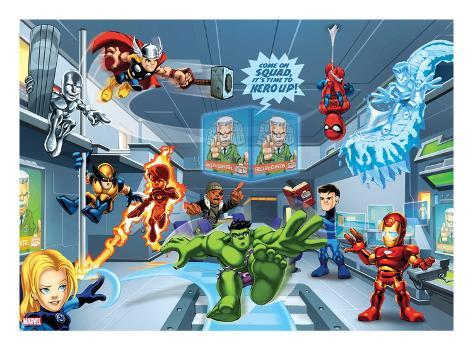 Marvel Super Hero Squad: Thor, Invisible Woman, Hulk, Iron Man, Spider-Man, and Thunderbolt Ross Stretched Canvas Print