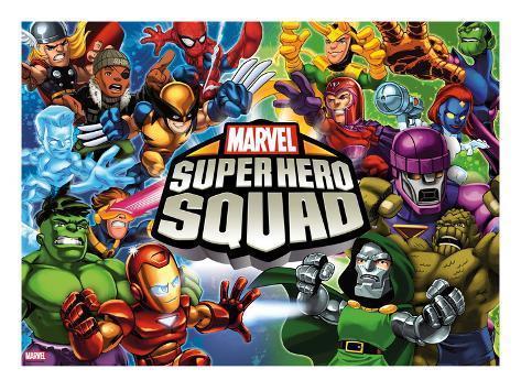 Marvel Super Hero Squad: Thor, Wolverine, Hulk, Iron Man, Loki, Magneto, Mystique, and Dr. Doom Stretched Canvas Print