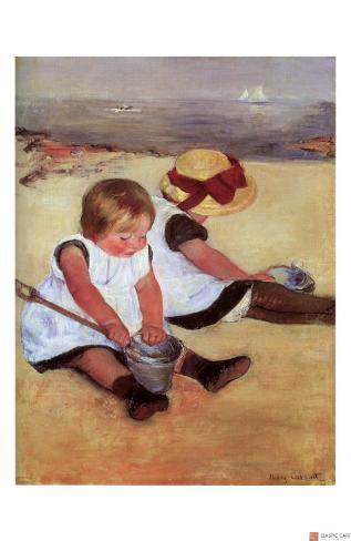 Children Playing on the Beach Giclee Print