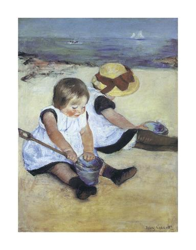 Children Playing on the Beach Art Print
