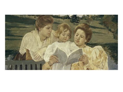 Family Group Reading Giclee Print