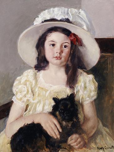 Francoise Holding a Little Black Dog, circa 1908 Giclee Print