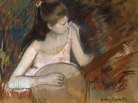 Girl with a Banjo Lámina giclée