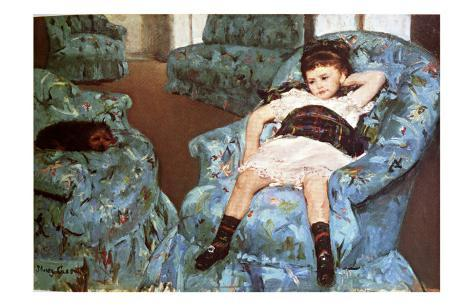 Little Girl Sitting in Blue Arm Chair Giclee Print