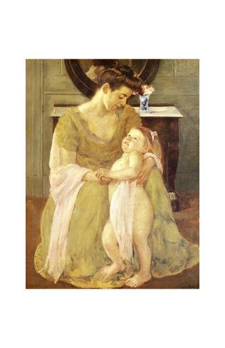 Young Child at Bath Time Giclee Print