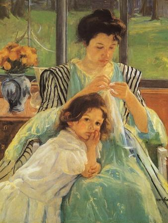 Young Mother Sewing, 1900 Giclee Print by Mary Cassatt at ...