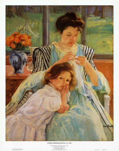 Young Mother Sewing Art Print