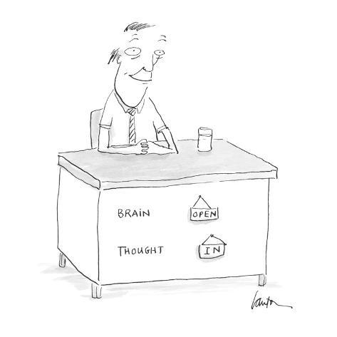 [man's desk has on its front:  Brain  - Cartoon Premium Giclee Print