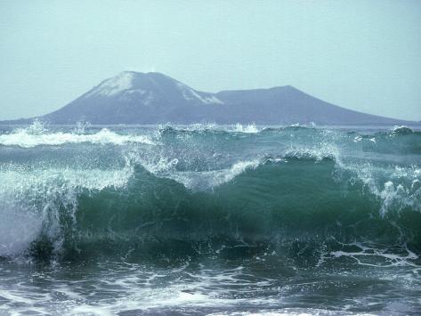 Waves with Anak Krakatoa Volcano Behind, Sunda Straits, Indonesia Photographic Print