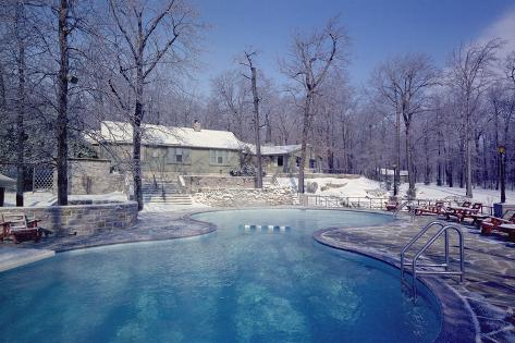 Maryland Presidential Retreat, Camp David Lodge and Swimming Pool in the Winter, Ca, 1969-74 Stretched Canvas Print