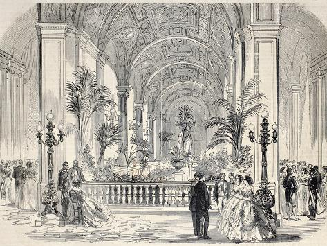 Antique Illustrtation of Tropical Garden at Hotel De Ville Interior, Paris. Original, from Drawing Photographic Print