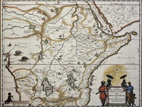 Ethiopia Old Map Created By Joan Blaeu Published In Amsterdam - Amsterdam old map