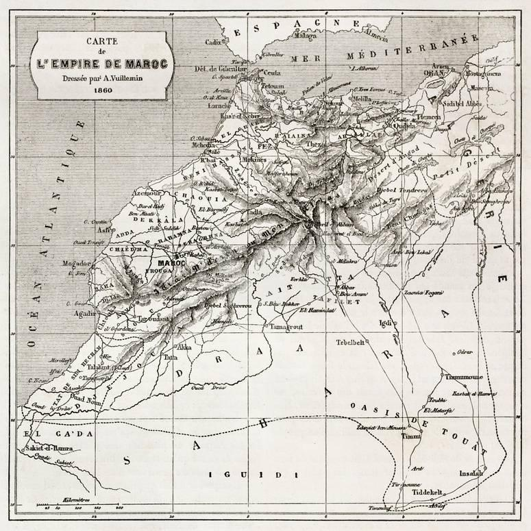 89c7df5f8cfc Morocco Old Map. Created By Erhard And Bonaparte, Published On Le Tour Du  Monde, Paris, 1860