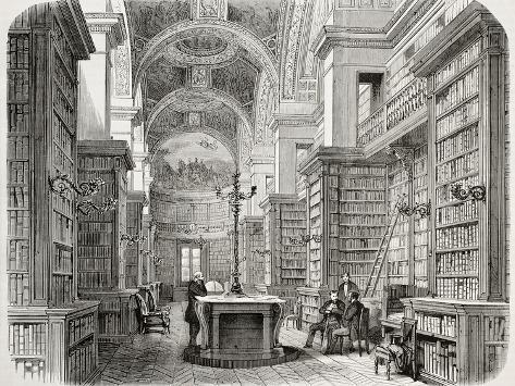 Old Illustration of Palais Bourbon Library, Paris. Created by Fichot and Cosson-Smeeton, Published Photographic Print