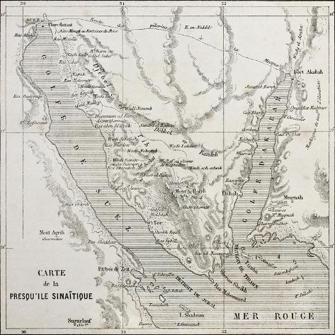 Old Map Of Sinai Peninsula. Created By Erhard, Published On Le Tour ...