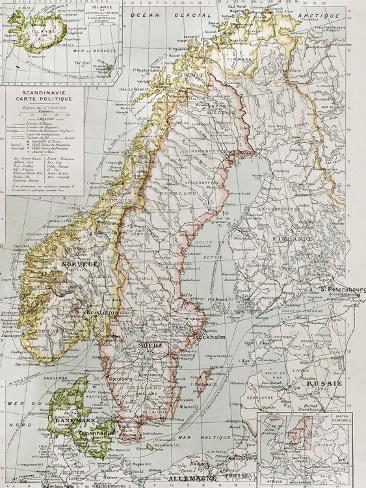 オールポスターズの marzolino scandinavia political map with iceland