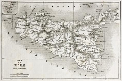 オールポスターズの marzolino sicily old map with stromboli isle