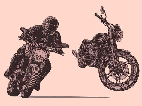 Motorcycle. Hand Drawn Engraving. Vector Vintage Illustration. Isolated on Color Background. 8 EPS Stampa artistica