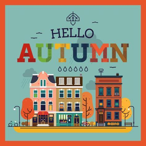 Merveilleux Colorful Vector Hello Autumn Seasonal Background With Autumn City Landscape  | Autumn Greeting Card,