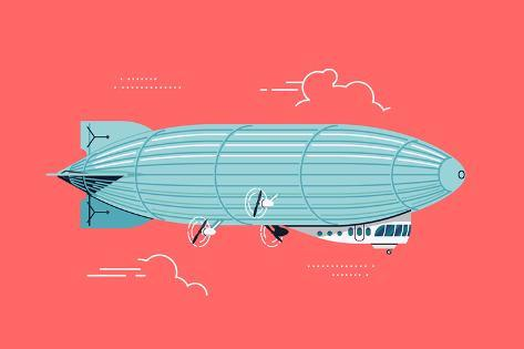 Cool Vector Flat Design Zeppelin Air Ship with Gondola Cabin and Ducted Fans. Airship Dirigible Air Stampa artistica