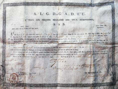 Masonry, Membership Certificate in the Name of Grossi, 1811, Italy Giclee Print