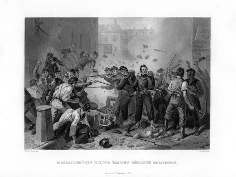 Massachusetts Militia Passing Through Baltimore, 1861 (1862-186) Giclee Print